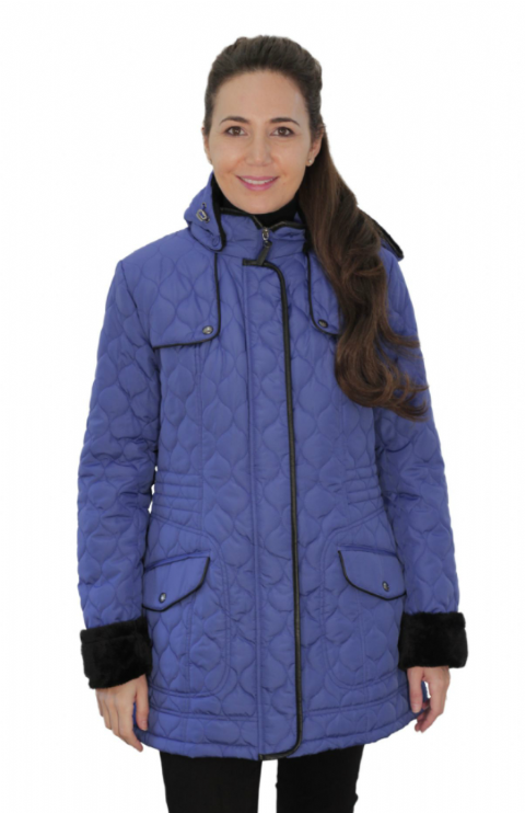 Womens ❤️Plus❤️ Fleece Lined Hooded Quilted Cobalt Coat db218